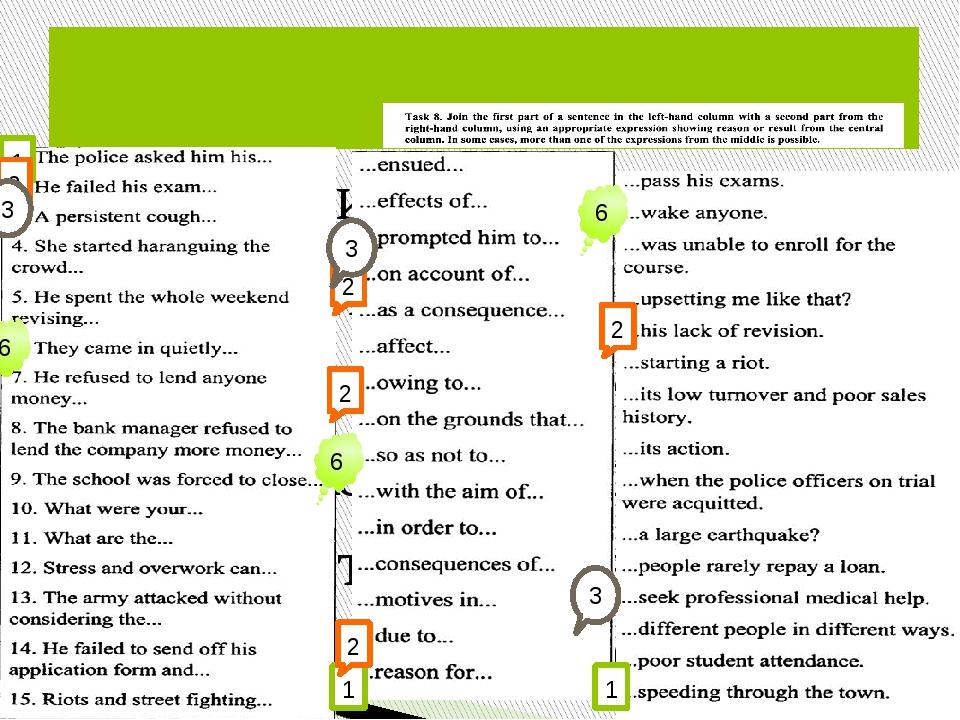 11 Задание Соединить части предложения из левой и правой колонок, используя...