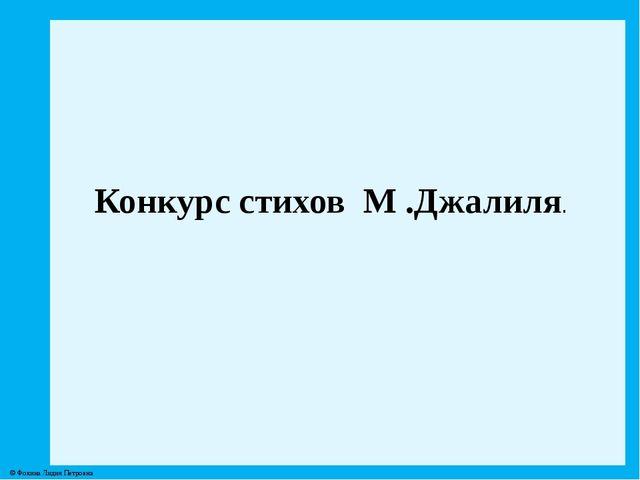 Конкурс стихов М .Джалиля. © Фокина Лидия Петровна