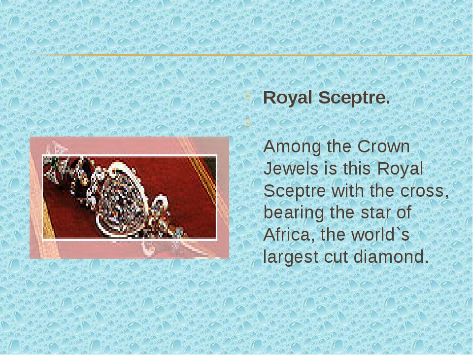 Royal Sceptre. Among the Crown Jewels is this Royal Sceptre with the cross, b...