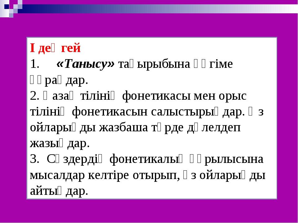 І деңгей 1. «Танысу» тақырыбына әңгіме құраңдар. 2. Қазақ тілінің фонетикасы...