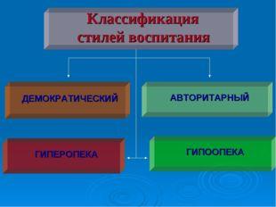 Классификация стилей воспитания ДЕМОКРАТИЧЕСКИЙ АВТОРИТАРНЫЙ ГИПЕРОПЕКА ГИПО