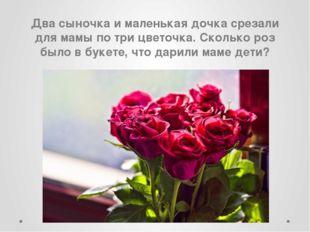 Два сыночка и маленькая дочка срезали для мамы по три цветочка. Сколько роз б