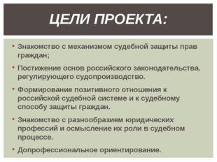 Знакомство с механизмом судебной защиты прав граждан; Постижение основ россий