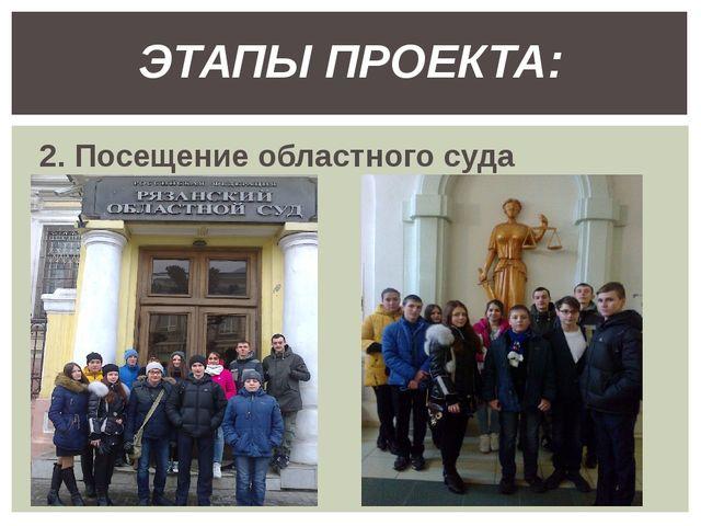 2. Посещение областного суда ЭТАПЫ ПРОЕКТА: