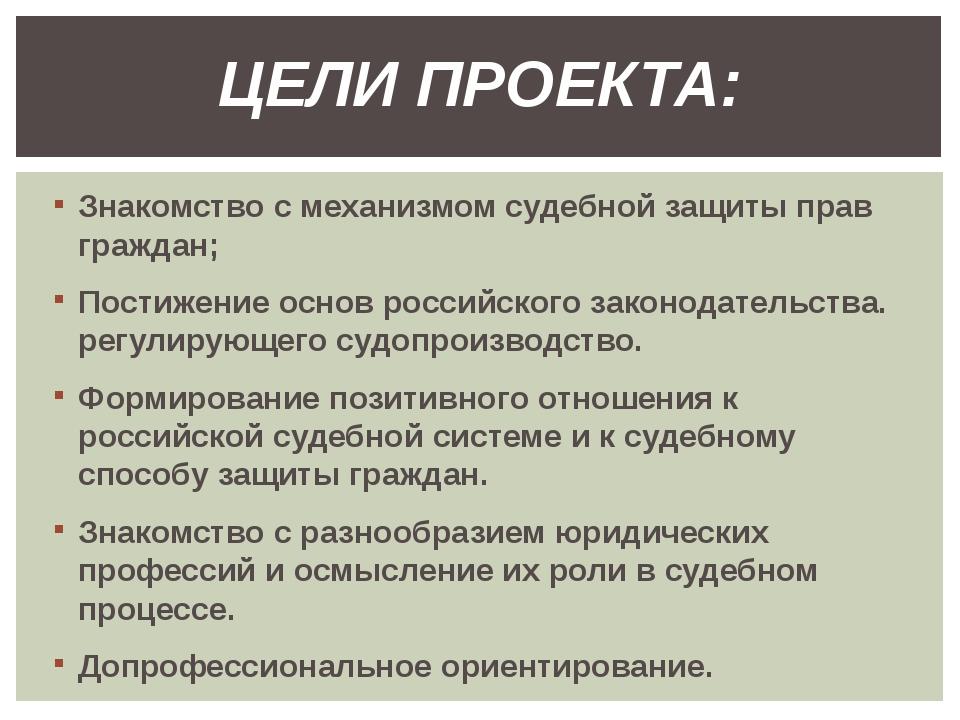 Знакомство с механизмом судебной защиты прав граждан; Постижение основ россий...