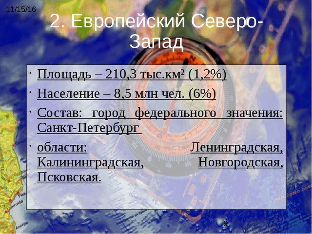 Площадь – 210,3 тыс.км² (1,2%) Население – 8,5 млн чел. (6%) Состав: город фе...