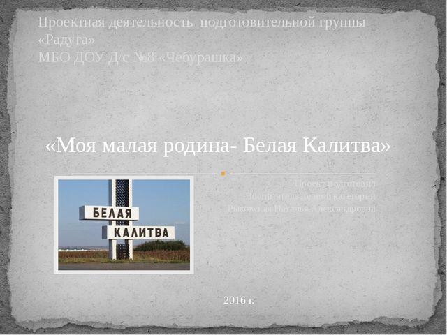 Проект подготовил Воспитатель первой категории Рыковская Наталья Александровн...