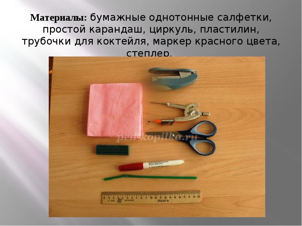 Материалы:бумажные однотонные салфетки, простой карандаш, циркуль, пластилин...