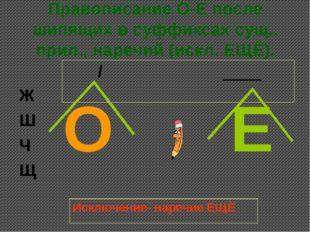 Правописание О-Е после шипящих в суффиксах сущ., прил., наречий (искл. ЕЩЁ).