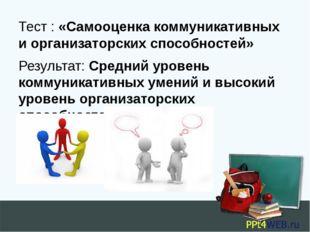 Тест : «Самооценка коммуникативных и организаторских способностей» Результат