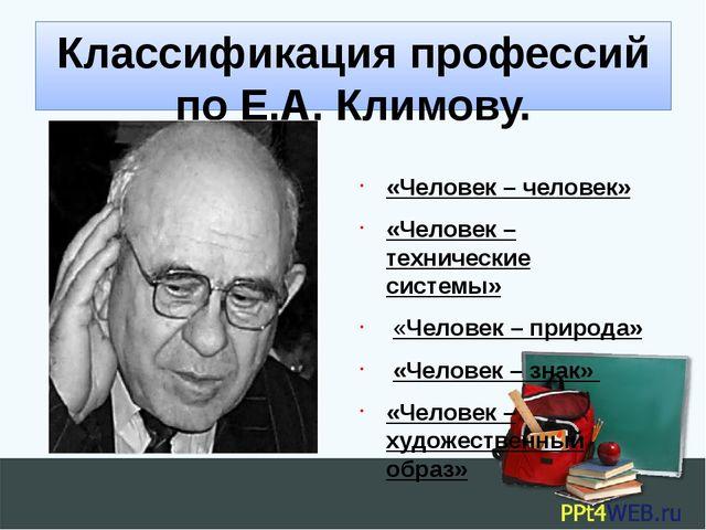 Классификация профессий по Е.А. Климову. «Человек – человек» «Человек – техни...