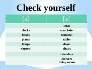 Check yourself [s] [z] sofas clocks armchairs books windows plants tables lam
