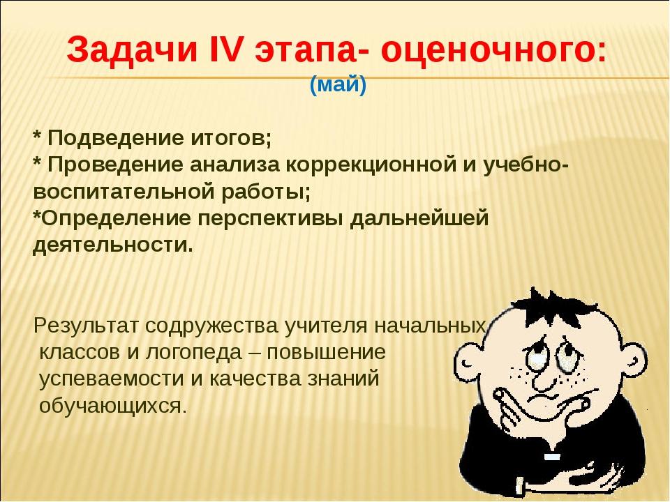 Задачи IV этапа- оценочного: (май) * Подведение итогов; * Проведение анализа...