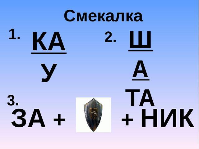 Смекалка 1. КА У 3. ЗА + + НИК 2. ША ТА