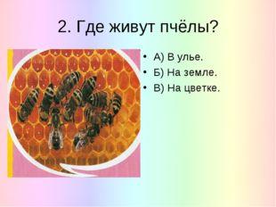 2. Где живут пчёлы? А) В улье. Б) На земле. В) На цветке.