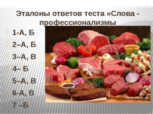 Эталоны ответов теста «Слова - профессионализмы 1-А, Б 2–А, Б 3–А, В 4– Б 5–А