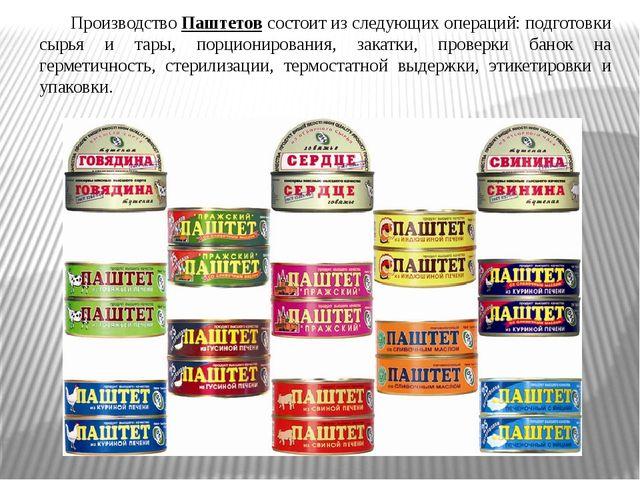 Производство Паштетов состоит из следующих операций: подготовки сырья и тары,...
