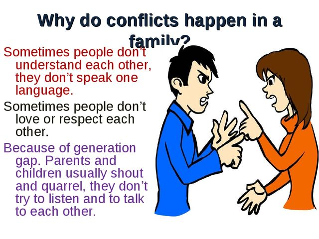 Why do conflicts happen in a family? Sometimes people don't understand each o...