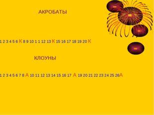 АКРОБАТЫ 1 2 3 4 5 6 К 8 9 10 1 1 12 13 К 15 16 17 18 19 20 К КЛОУНЫ 1 2 3 4