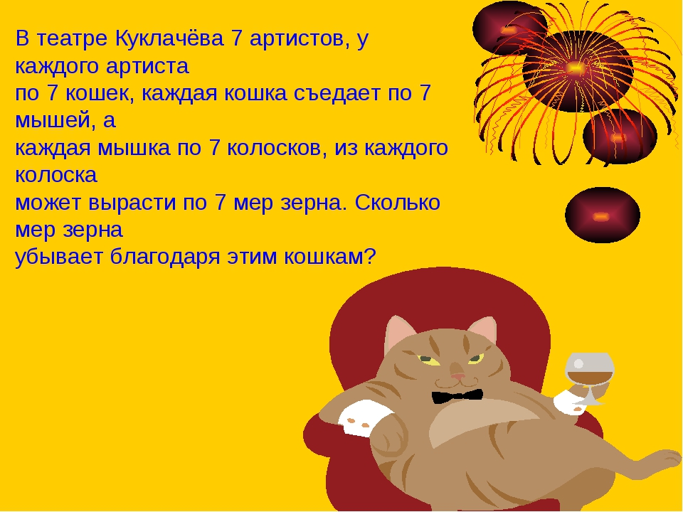 В театре Куклачёва 7 артистов, у каждого артиста по 7 кошек, каждая кошка съе...