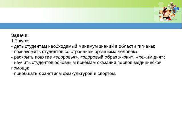 Задачи: 1-2 курс: -дать студентам необходимый минимум знаний в области гигие...