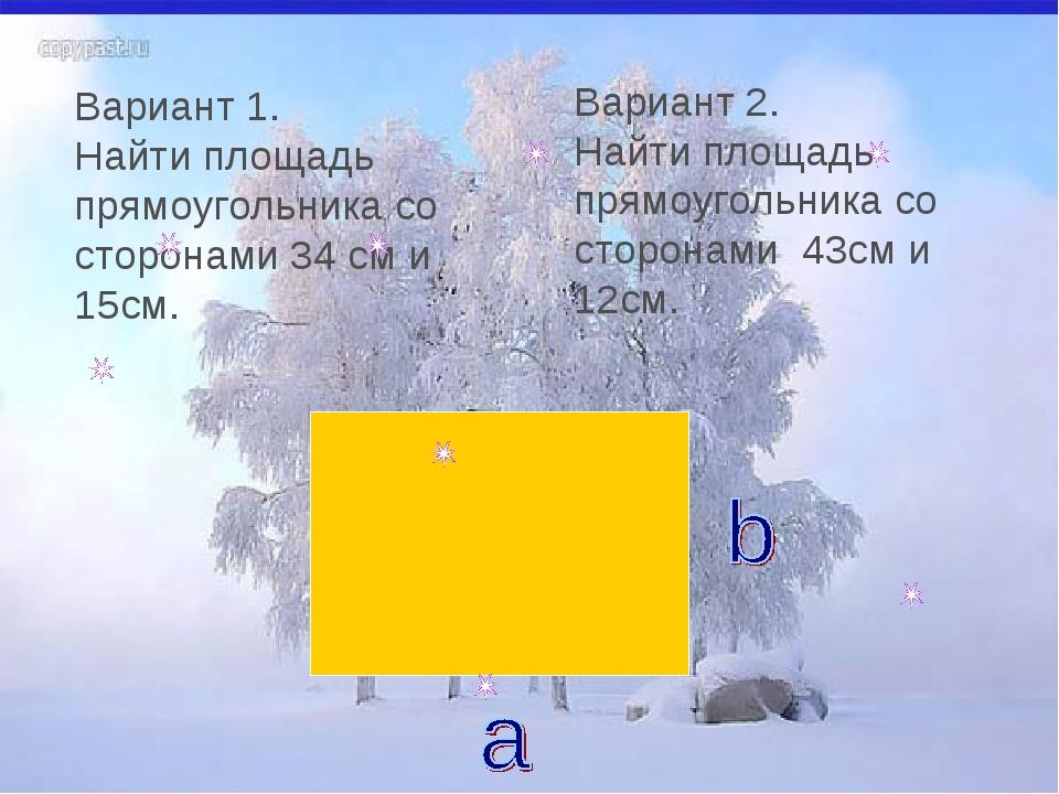 Вариант 1. Найти площадь прямоугольника со сторонами 34 см и 15см. Вариант 2....