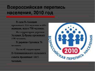Всероссийская перепись населения, 2010 год В селе В-Амонаш проживает 355 му