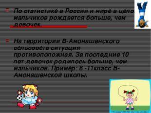По статистике в России и мире в целом мальчиков рождается больше, чем девочек