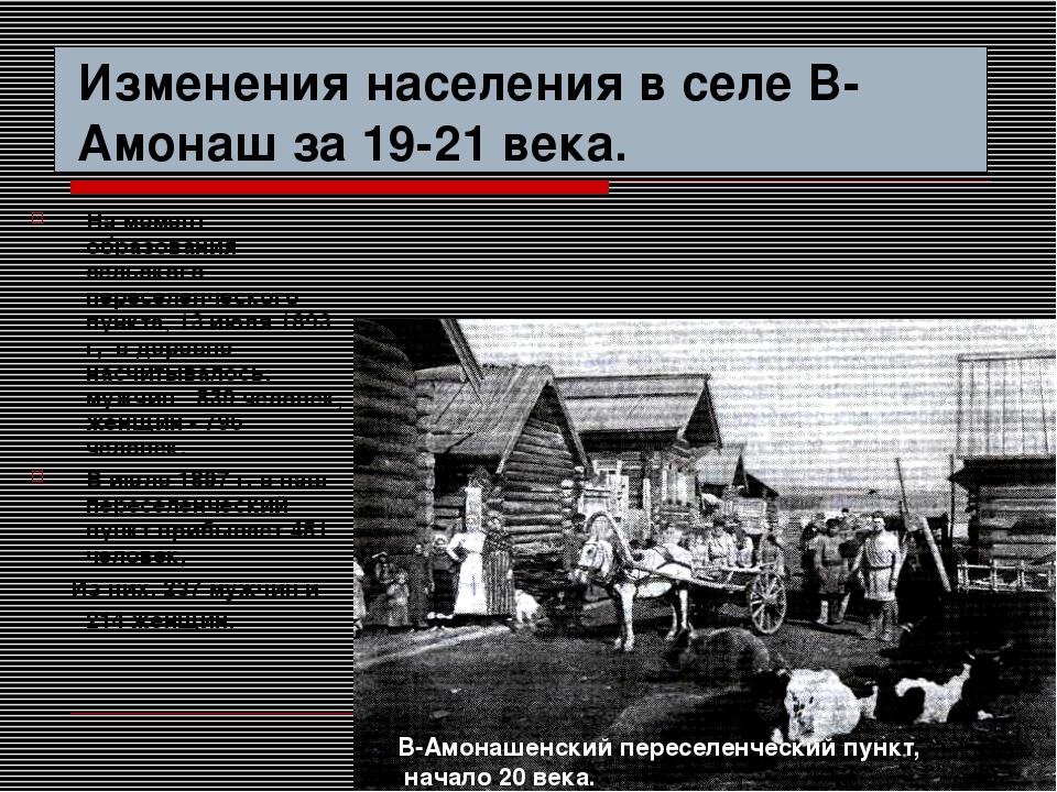 Изменения населения в селе В-Амонаш за 19-21 века. На момент образования сель...