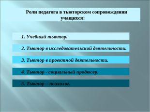Роли педагога в тьюторском сопровождении учащихся: 1. Учебный тьютор. 2. Тьют