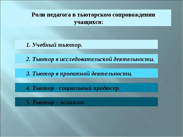 Роли педагога в тьюторском сопровождении учащихся: 1. Учебный тьютор. 2. Тьют...