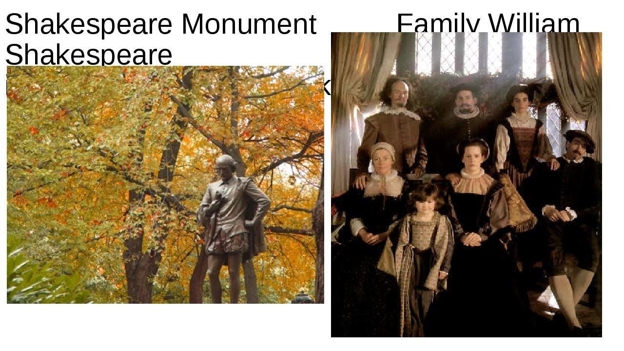 Shakespeare Monument Family William Shakespeare in New York, Central Park
