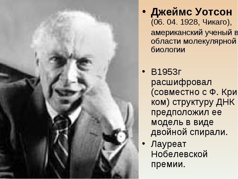 Джеймс Уотсон (06. 04. 1928, Чикаго), американский ученый в области молекуля...