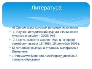 А) Список используемых печатных источников 1. Научно-методический журнал «Физ