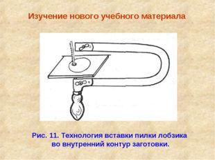 Изучение нового учебного материала Рис. 11. Технология вставки пилки лобзика