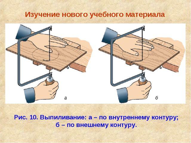 Изучение нового учебного материала Рис. 10. Выпиливание: а – по внутреннему...