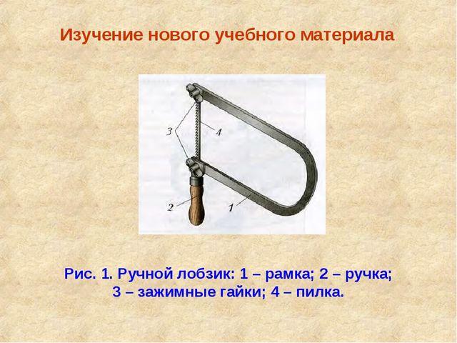 Изучение нового учебного материала Рис. 1. Ручной лобзик: 1 – рамка; 2 – руч...