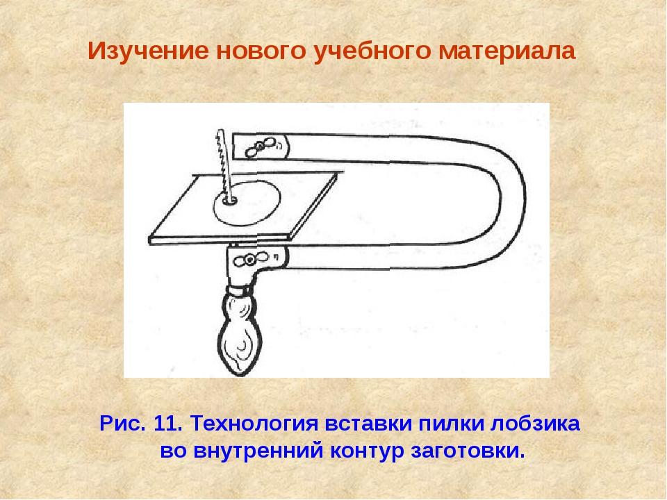 Изучение нового учебного материала Рис. 11. Технология вставки пилки лобзика...
