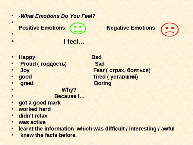 -What Emotions Do You Feel?  Positive Emotions Negative Emotions I feel… Ha...