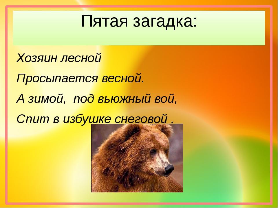 Пятая загадка: Хозяин лесной Просыпается весной. А зимой, под вьюжный вой, Сп...