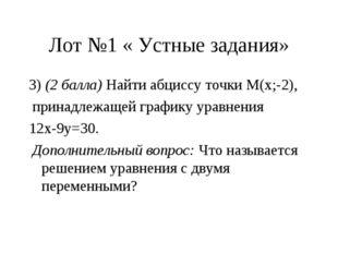 Лот №1 « Устные задания» 3) (2 балла) Найти абциссу точки М(х;-2), принадлежа