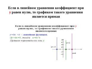 Если в линейном уравнении коэффициент при у равен нулю, то графиком такого ур