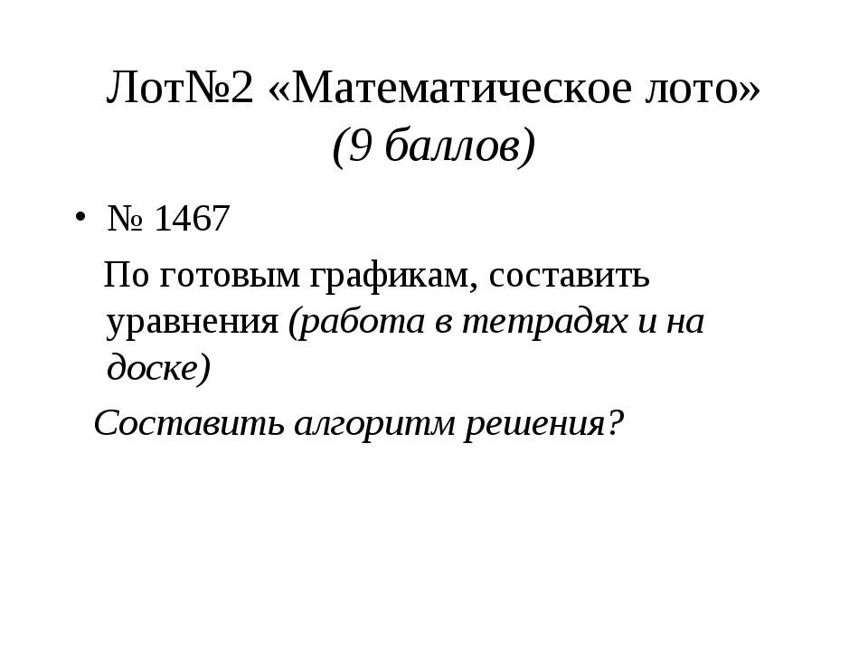 Лот№2 «Математическое лото» (9 баллов) № 1467 По готовым графикам, составить...
