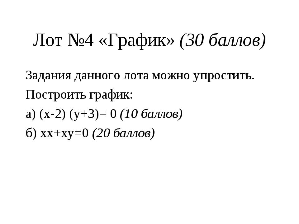 Лот №4 «График» (30 баллов) Задания данного лота можно упростить. Построить г...