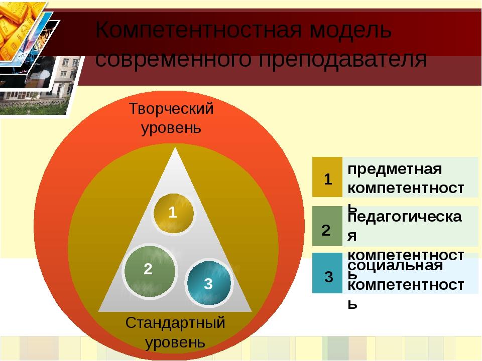 Творческий уровень Стандартный уровень 1 2 3 предметная компетентность педаг...