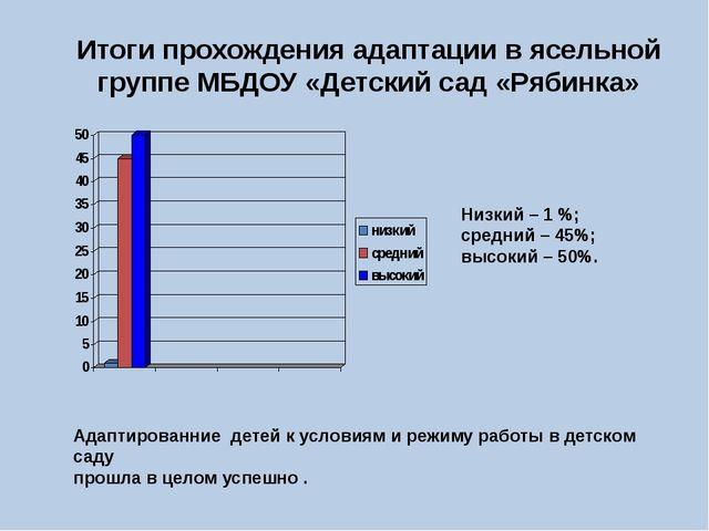 Итоги прохождения адаптации в ясельной группе МБДОУ «Детский сад «Рябинка» Ни...
