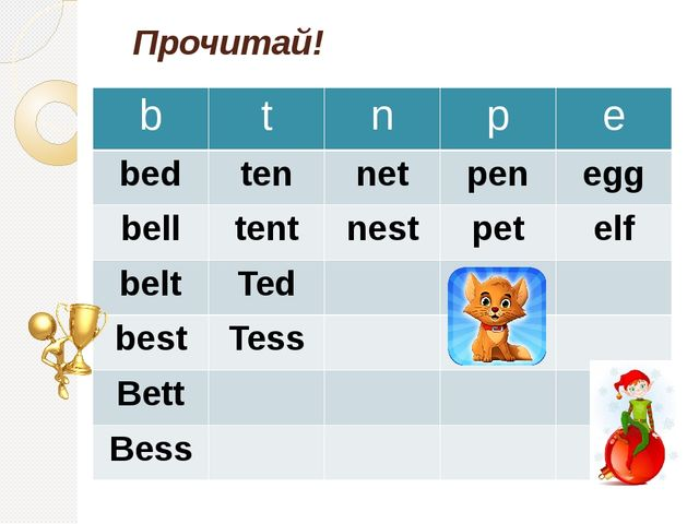 Прочитай! b t n p e bed ten net pen egg bell tent nest pet elf belt Ted best...