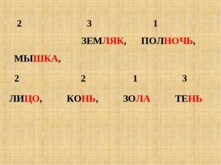 2 3 1 ЗЕМЛЯК, ПОЛНОЧЬ, МЫШКА, 2 2 1 3 ЛИЦО, КОНЬ, ЗОЛА ТЕНЬ