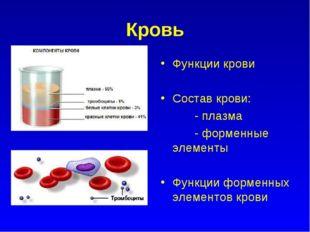 Кровь Функции крови Состав крови: - плазма - форменные элементы Функции форме