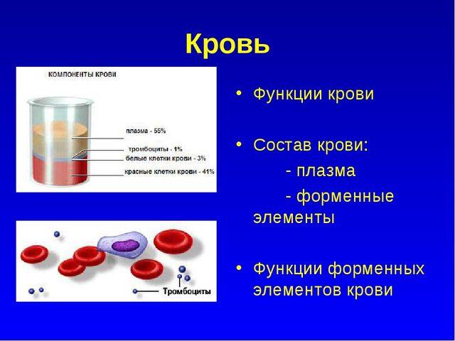 Кровь Функции крови Состав крови: - плазма - форменные элементы Функции форме...
